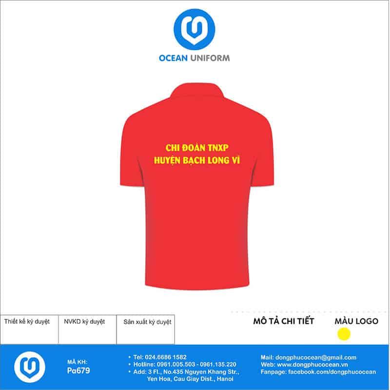 Áo cờ đỏ sao vàng Chi Đoàn TNXP huyện Bạch Long Vĩ mặt sau
