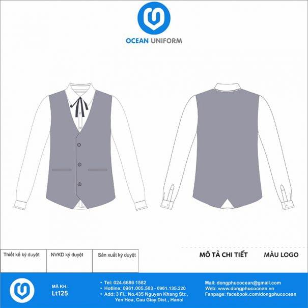 Áo đồng phục lễ tân áo gile và váy màu xám
