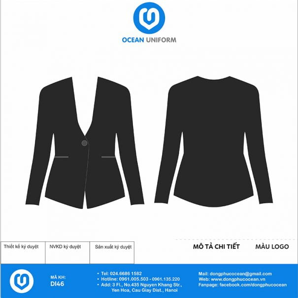 Đồng phục lễ tân vest đen