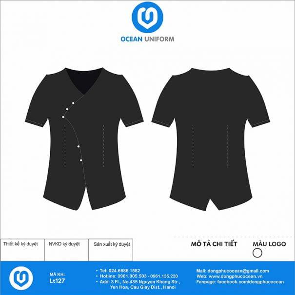 Áo đồng phục lễ tân đen vạt lệch