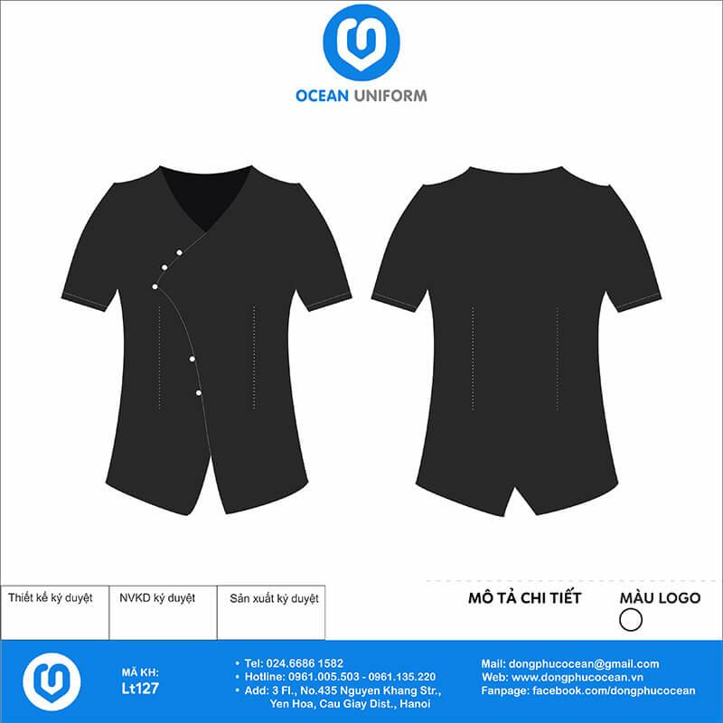 Đồng phục lễ tân đen vạt lệch