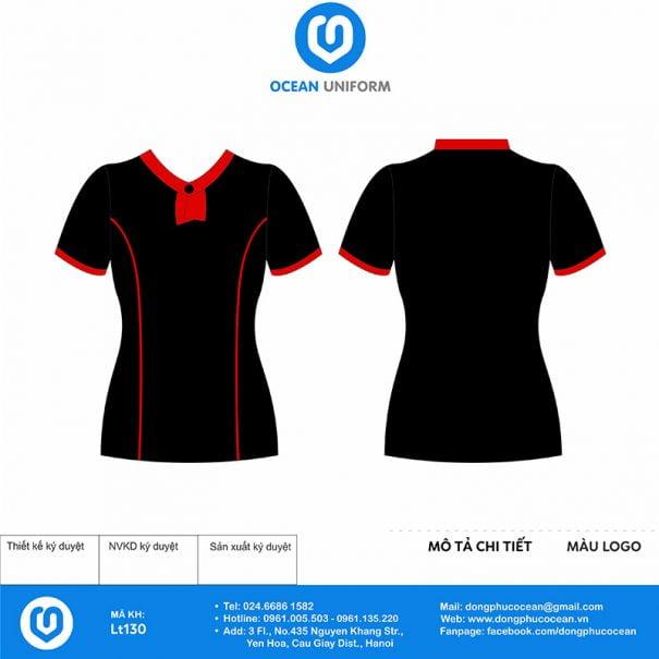 Áo đồng phục lễ tân phối đen đỏ