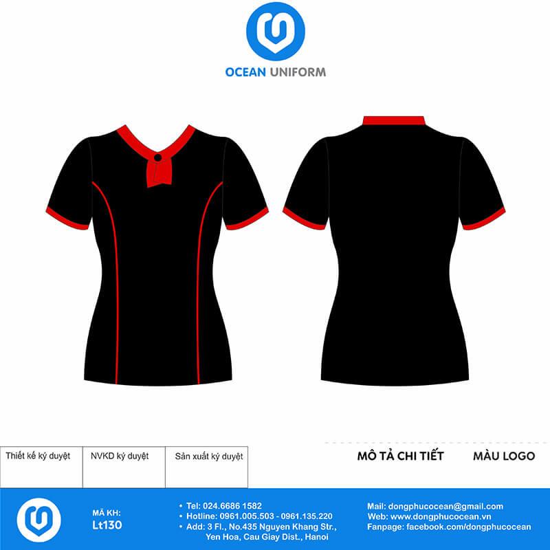Đồng phục lễ tân phối đen đỏ