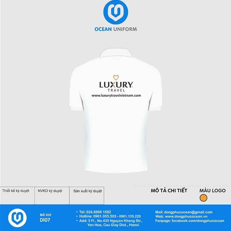 Áo thun đồng phục công ty Luxury Travel mặt sau