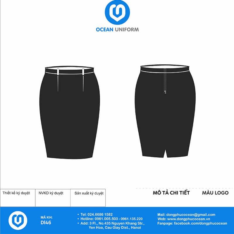 Chân váy đồng phục lễ tân vest đen