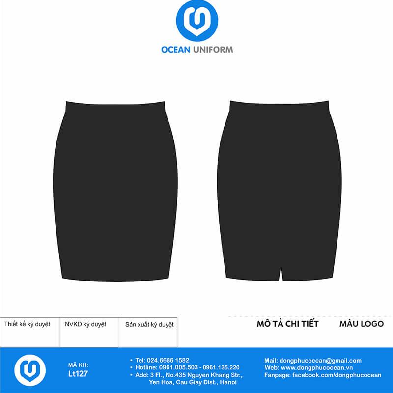 Chân váy đồng phục lễ tân đen vạt lệch