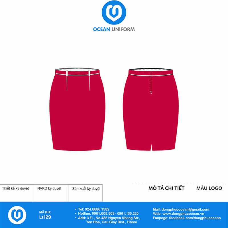 Chân váy đồng phục lễ tân màu hồng