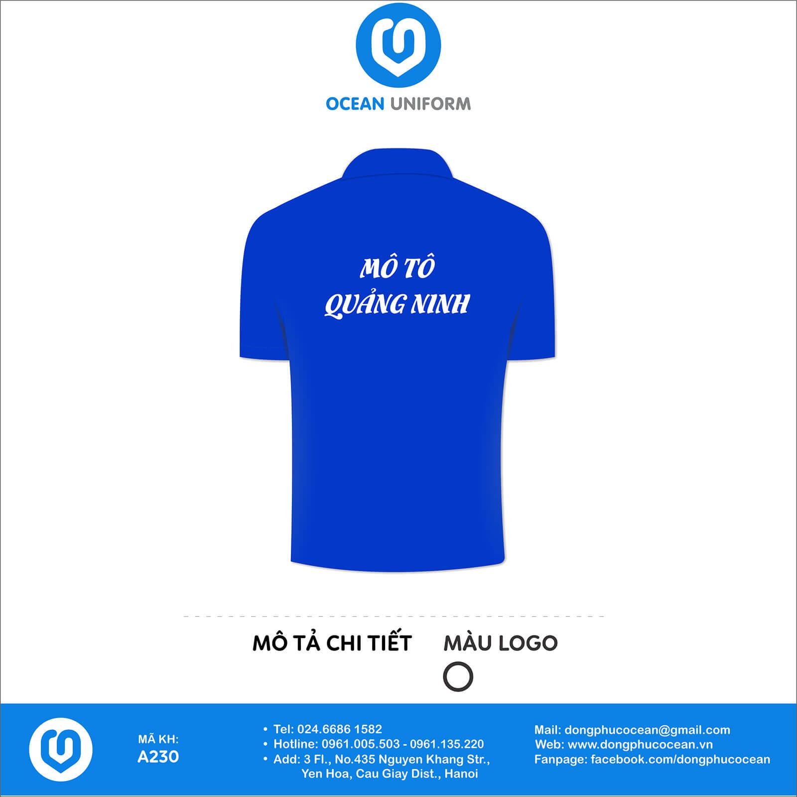 Đồng phục câu lạc bộ Mô Tô Quảng Ninh mặt sau