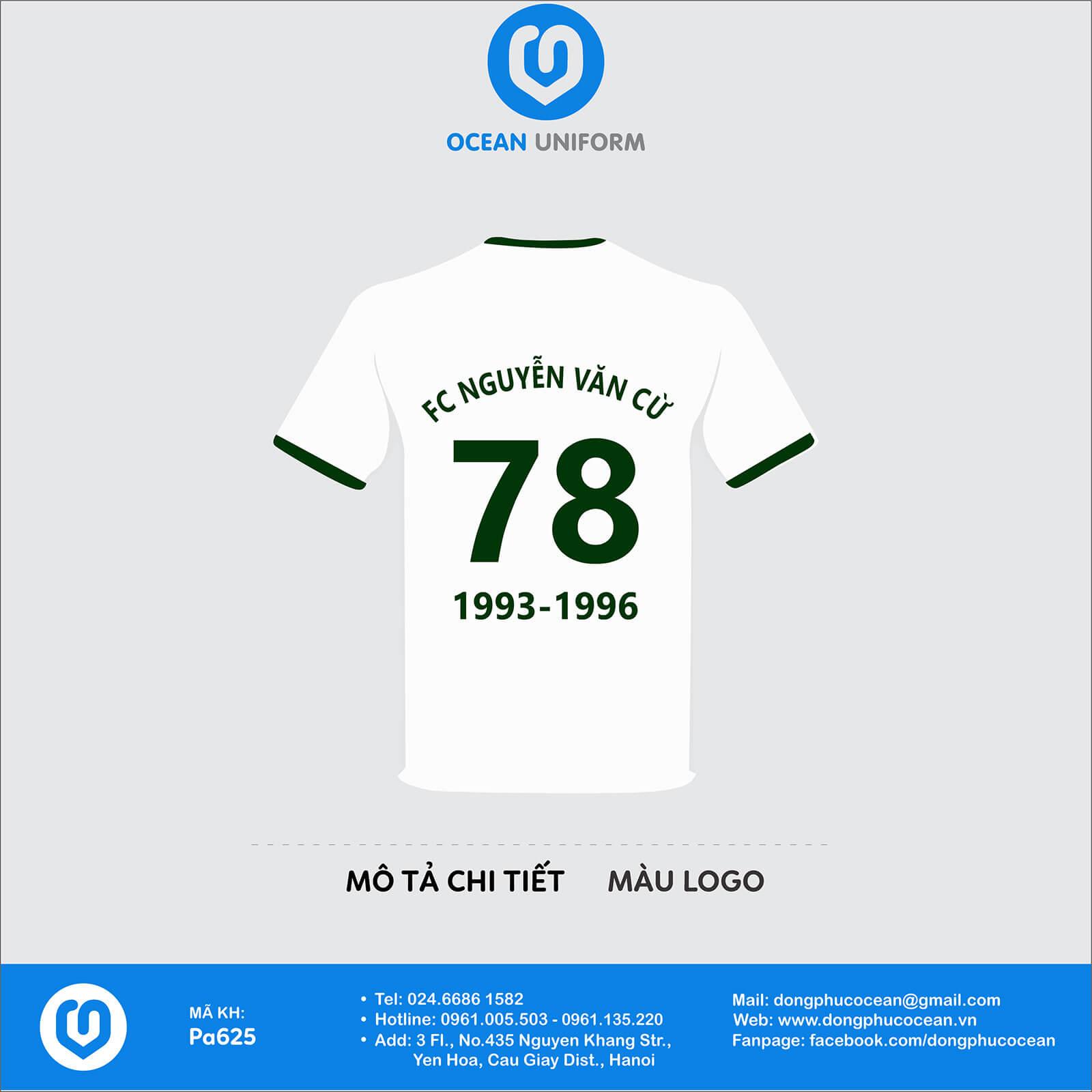 Đồng phục câu lạc bộ FC Nguyễn Văn Cừ mặt sau
