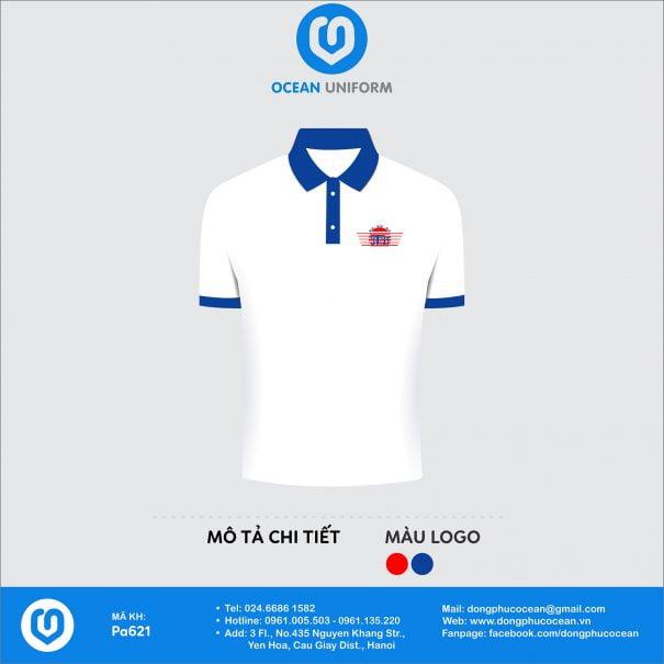 Áo đồng phục câu lạc bộ màu trắng cổ xanh