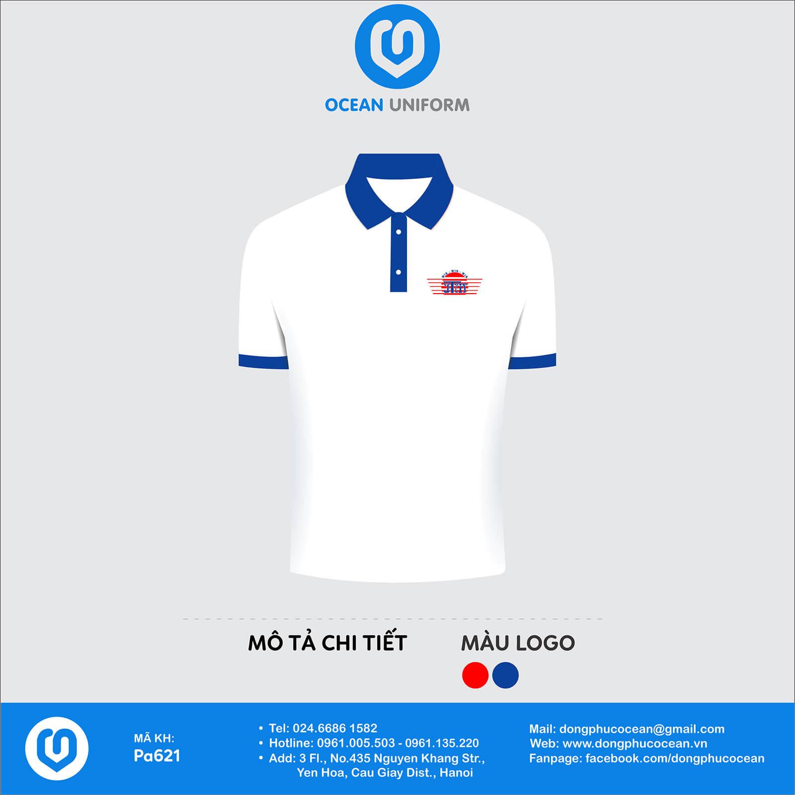 Áo thun đồng phục câu lạc bộ Áo CLB màu trắng cổ xanh