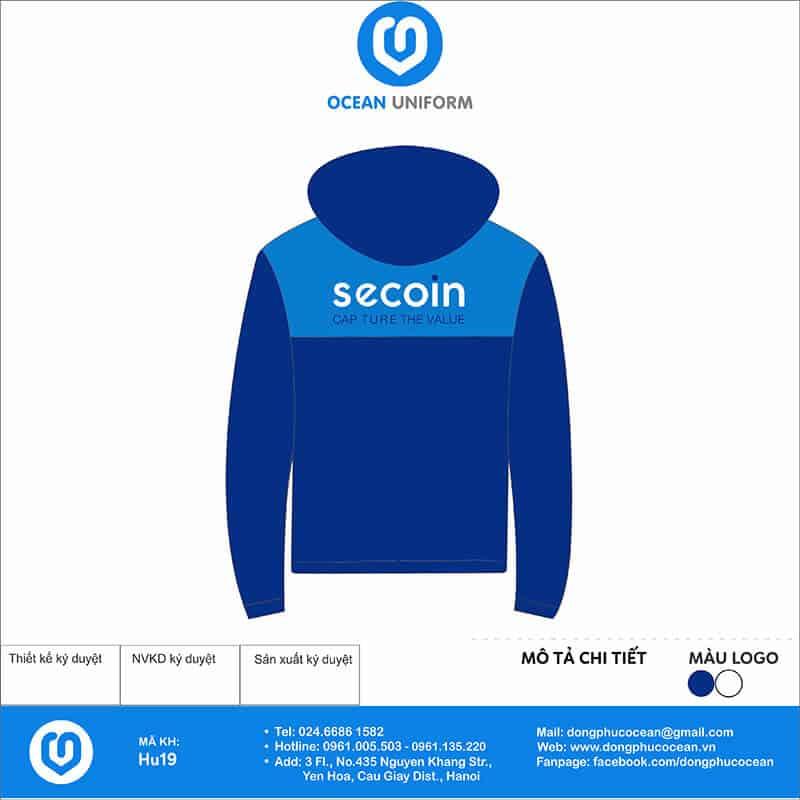 Áo khoác gió 2 lớp đồng phục Công ty Cổ phần Secoin mặt sau
