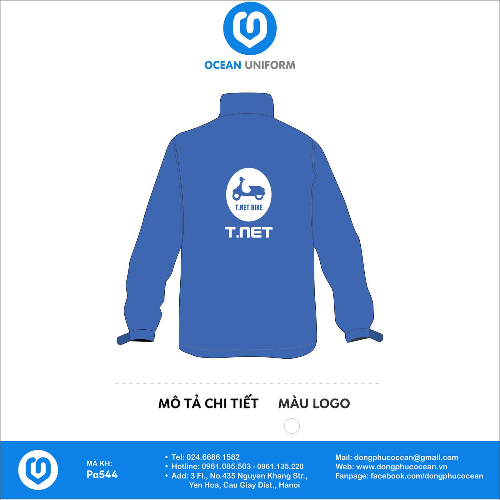 Áo khoác gió đồng phục Công ty T.NET Việt Nam mặt sau