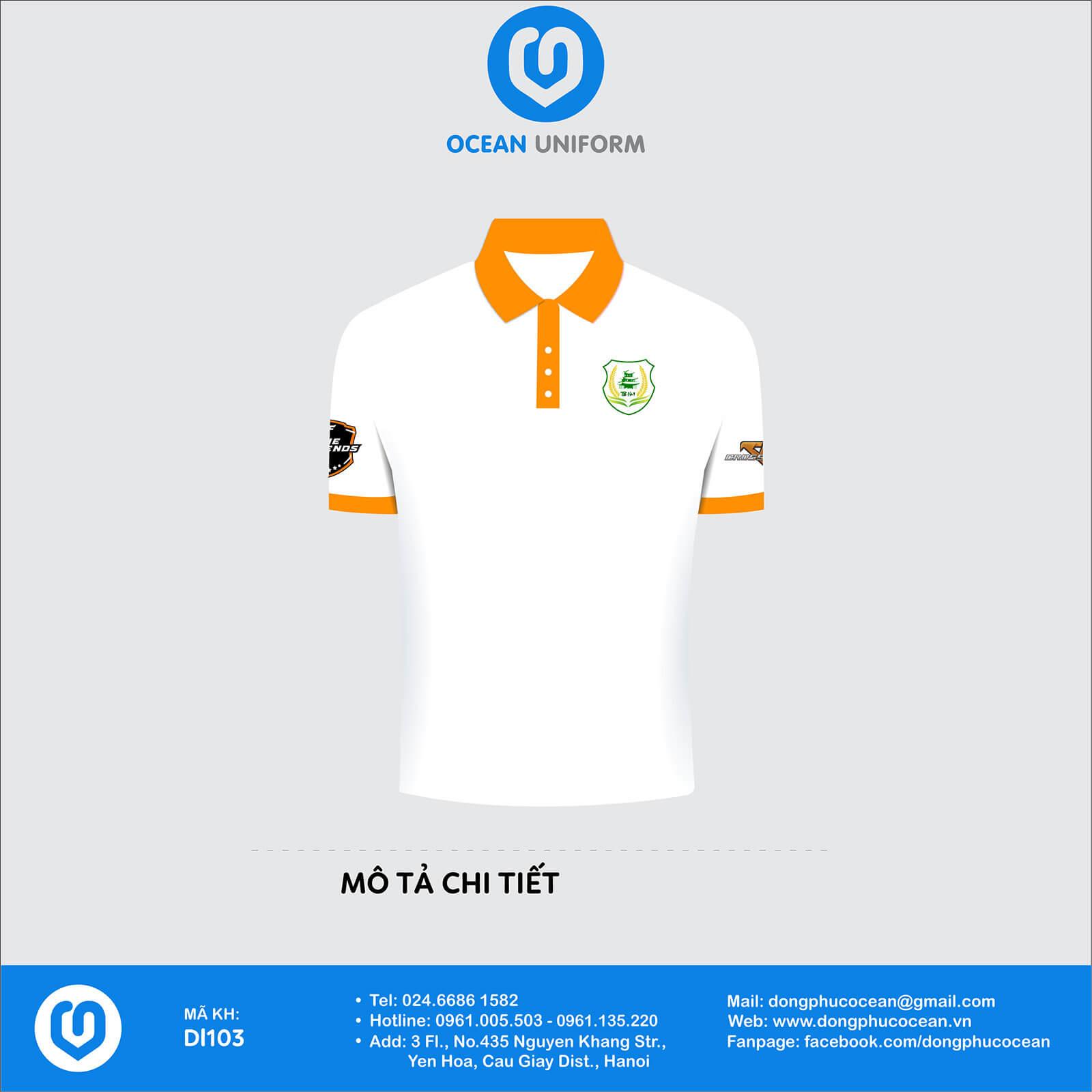 Áo nhóm đồng phục Áo màu trắng cổ bẻ màu cam