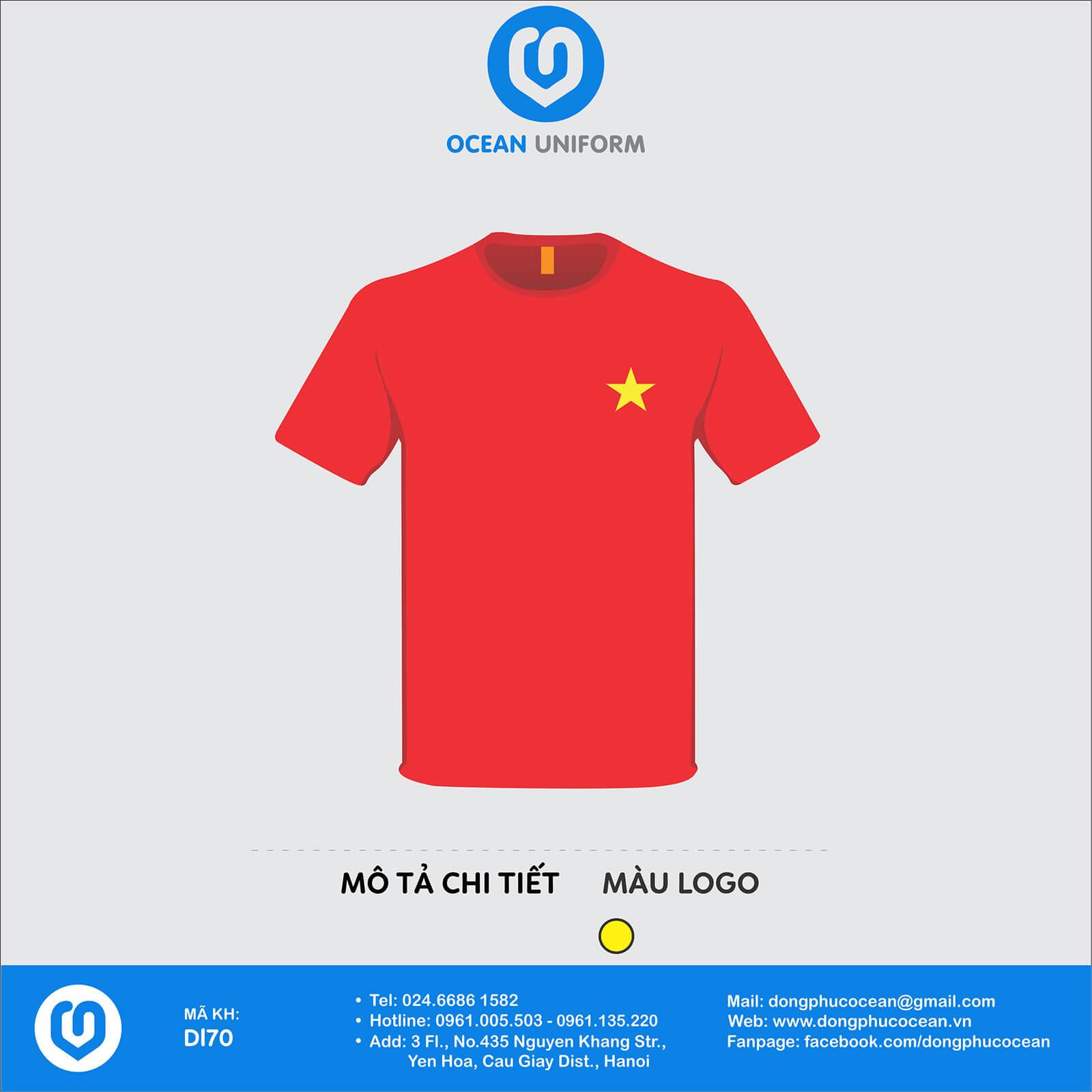Áo cờ đỏ sao vàng logo sao trước ngực