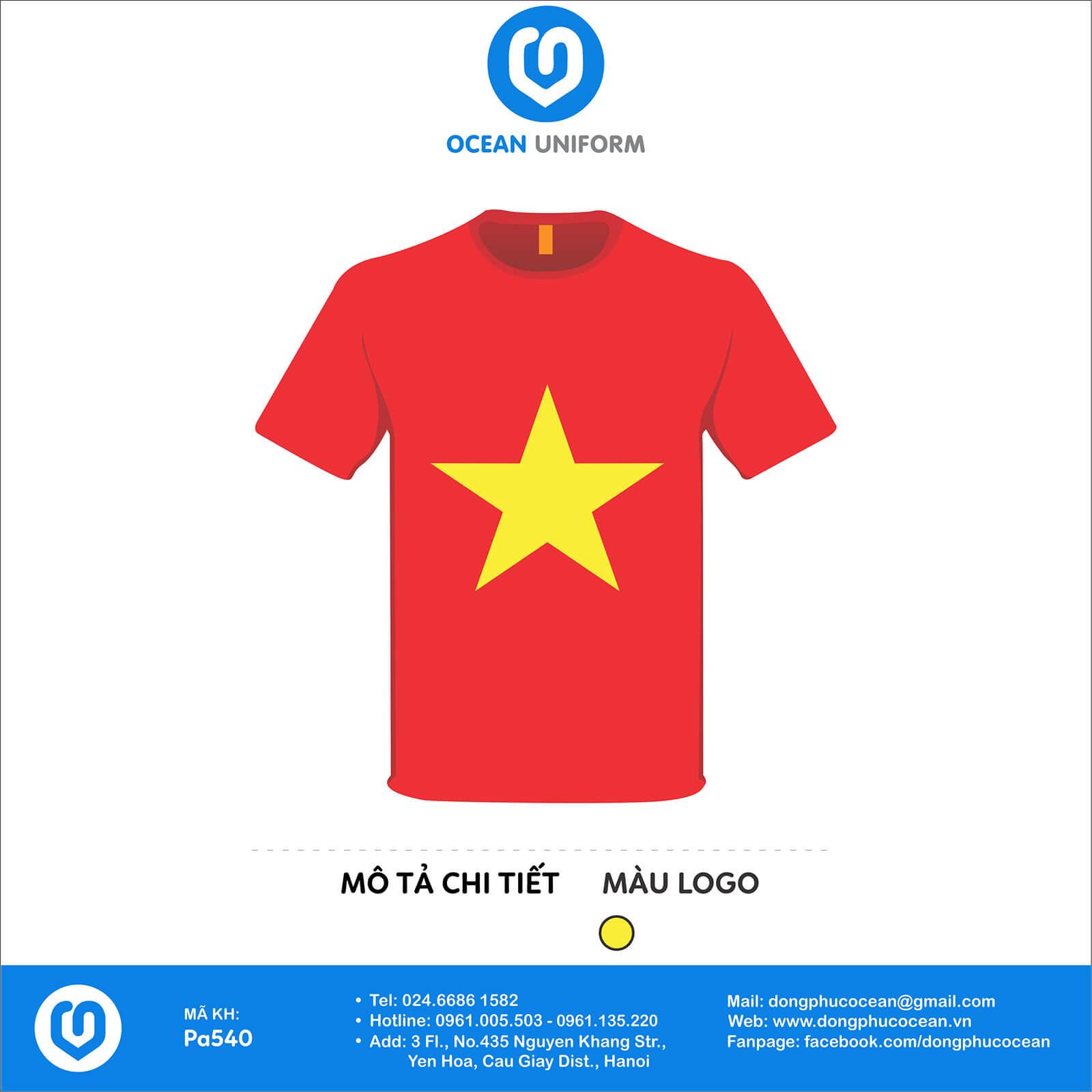 Áo nhóm đồng phục Áo cờ đỏ sao vàng I love Vietnam