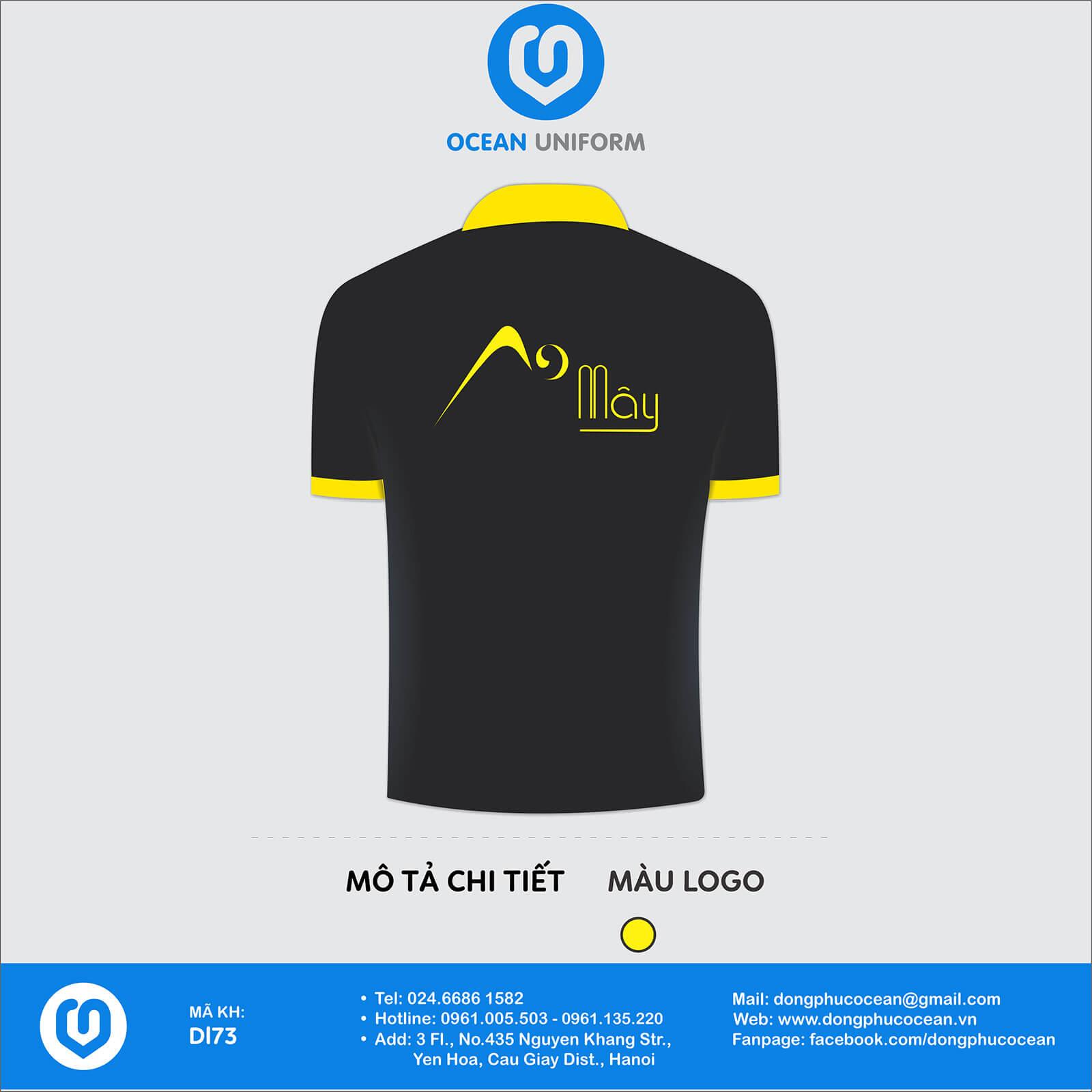 Áo thun đồng phục công ty Áo đen logo vàng mặt sau