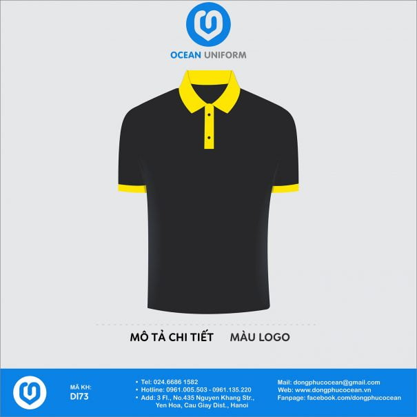 Áo thun đồng phục công ty Áo đen logo vàng