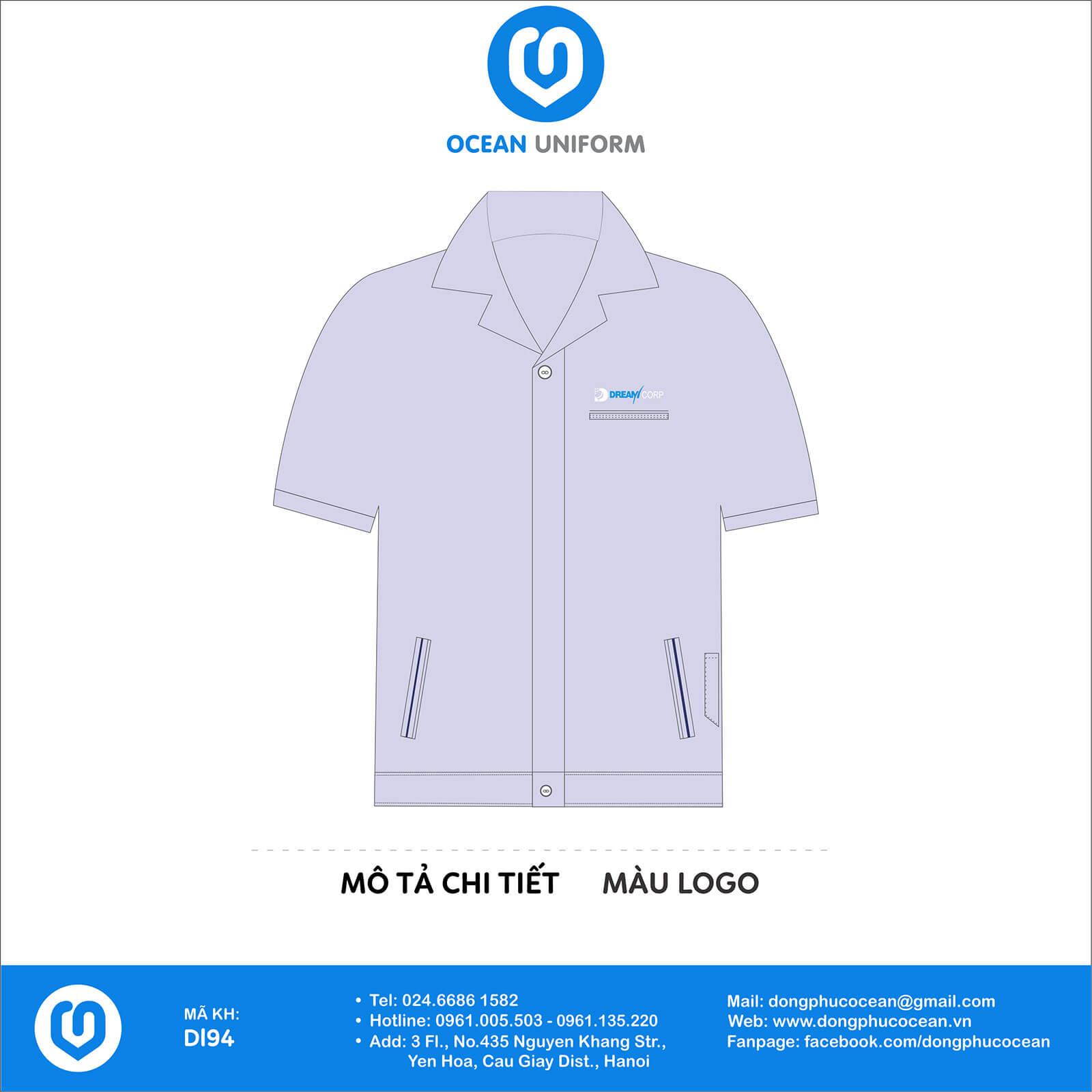 Áo đồng phục công nhân công ty Dream Corporation Việt Nam