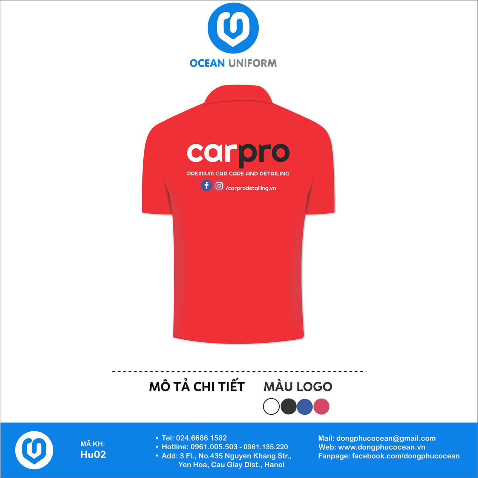 Áo đồng phục công ty cho nhân viên Garage sửa xe Car Pro mặt sau (màu đỏ)