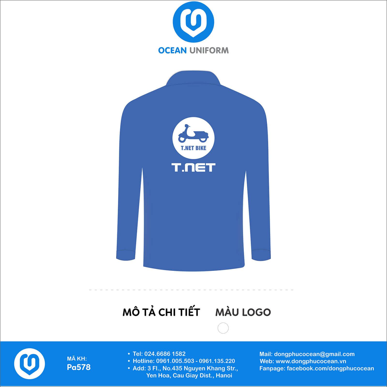 Áo đồng phục văn phòng công ty T.NET Việt Nam mặt sau