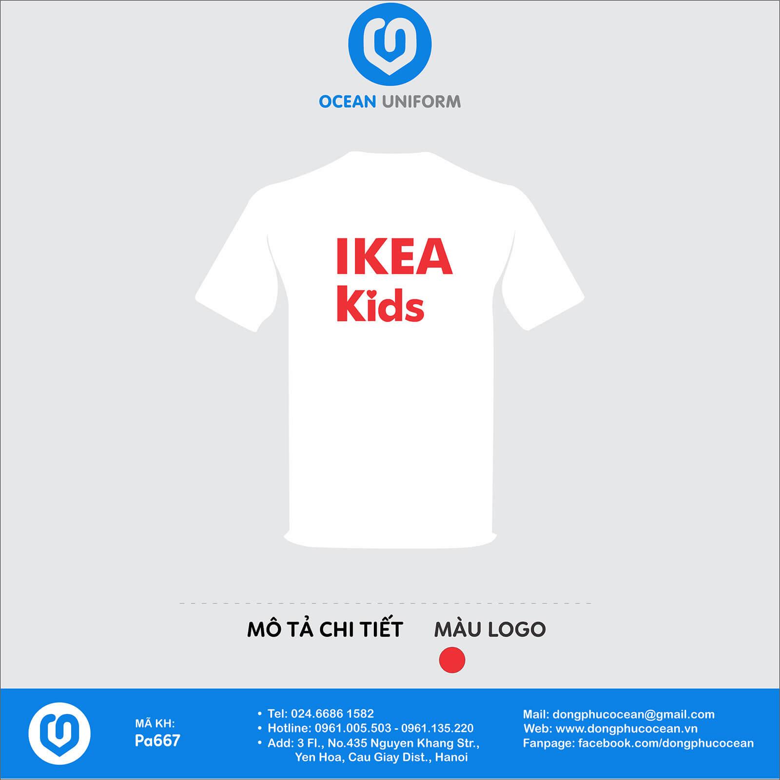 Áo đồng phục nhân viên Cửa hàng IKea Kisd mặt sau