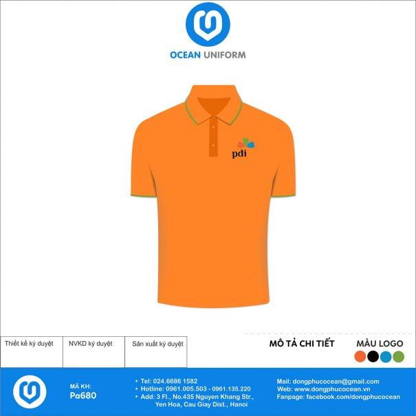 Áo đồng phục công ty màu cam PDI