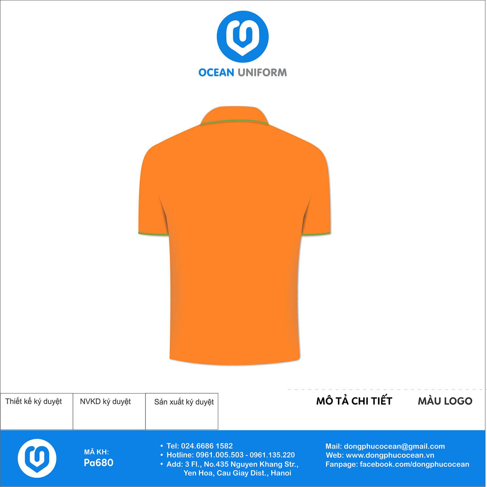 Áo đồng phục công ty màu cam PDI mặt sau