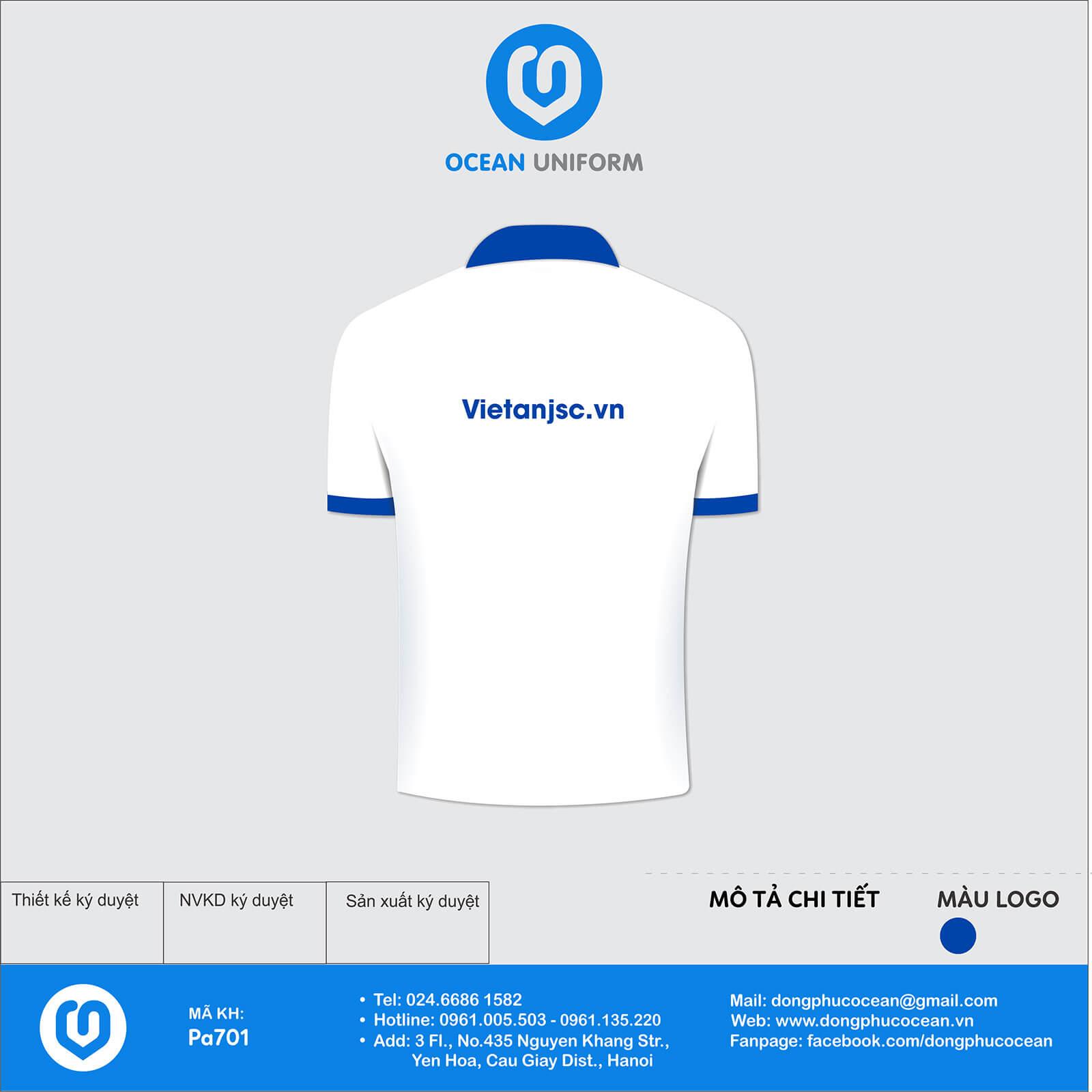 Áo đồng phục công ty Việt An mặt sau