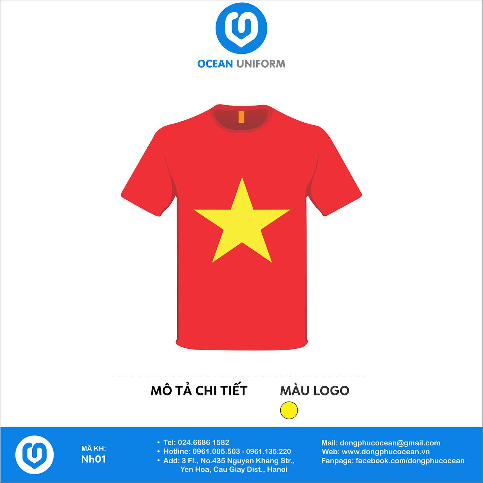 Áo cờ đỏ sao vàng in chữ sau lưng