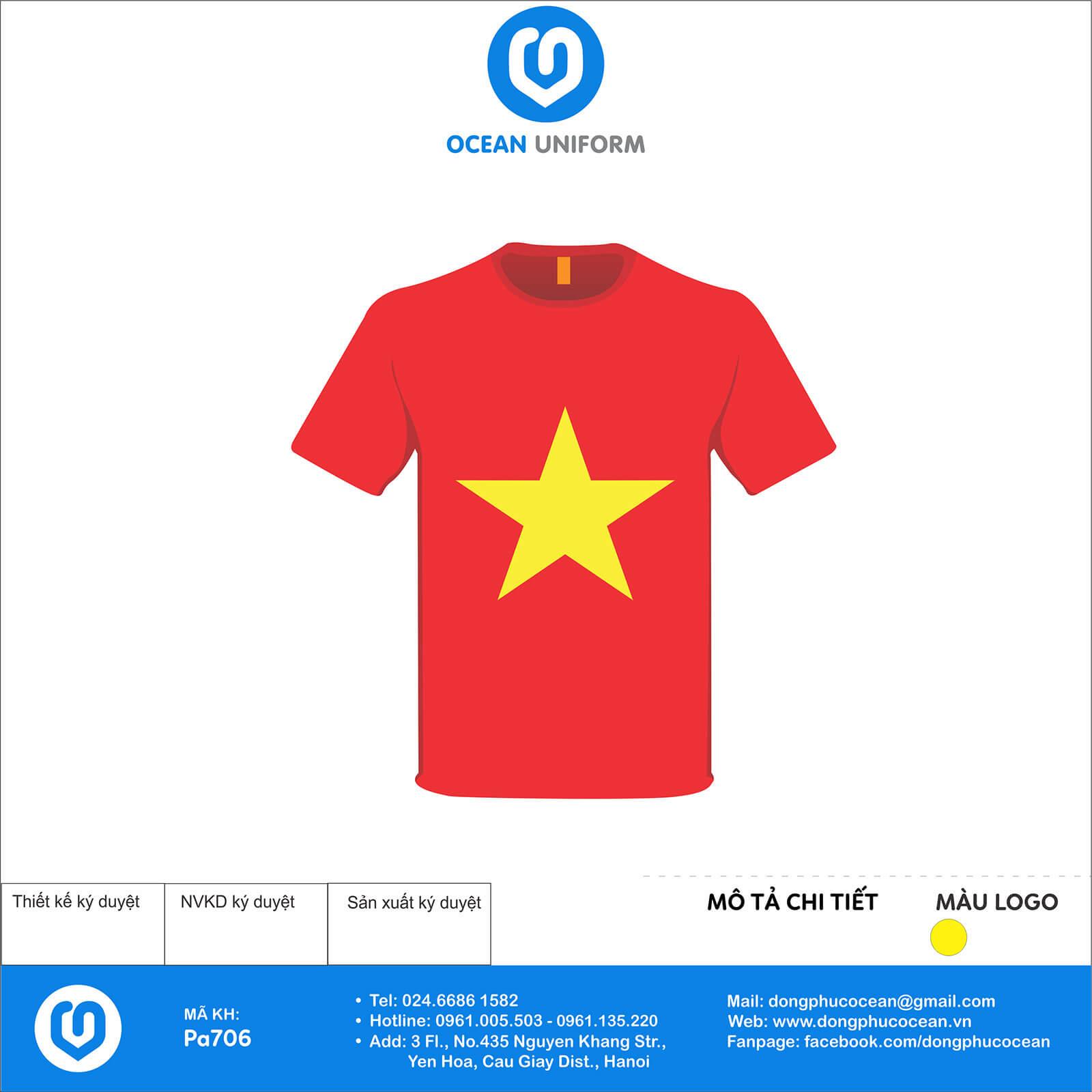 Áo cờ đỏ sao vàng hình bản đồ sau lưng
