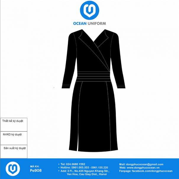 Váy đồng phục Spa màu đen xẻ tà