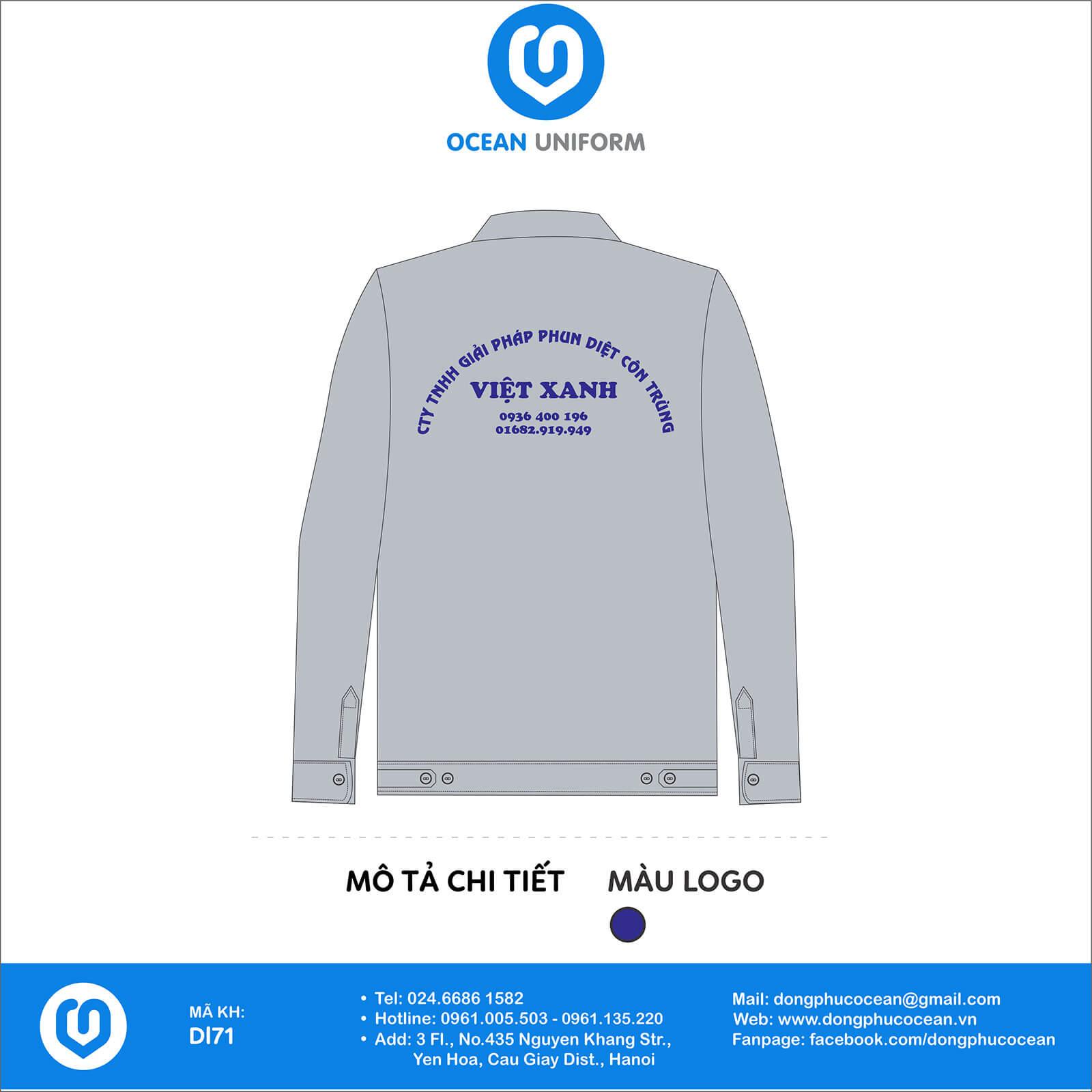 Đồng phục công nhân Công ty TNHH Việt Xanh mặt sau