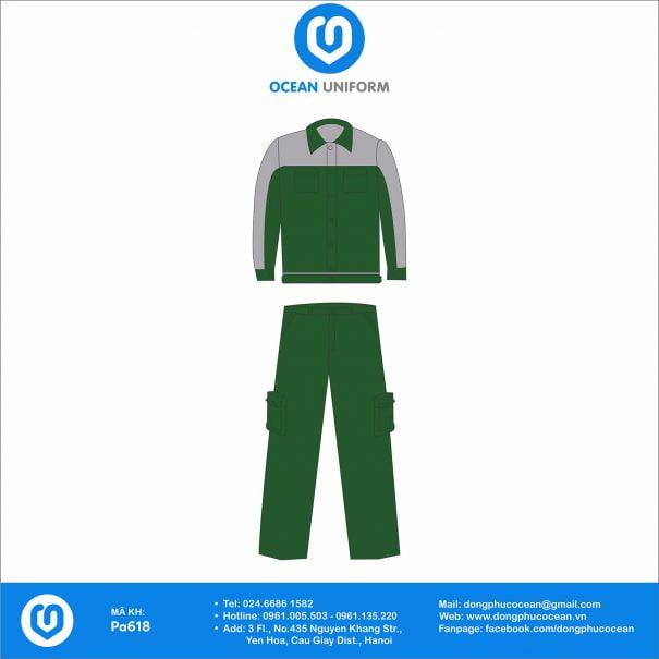 Đồng phục công nhân Bộ bảo hộ xanh lá phổi xám