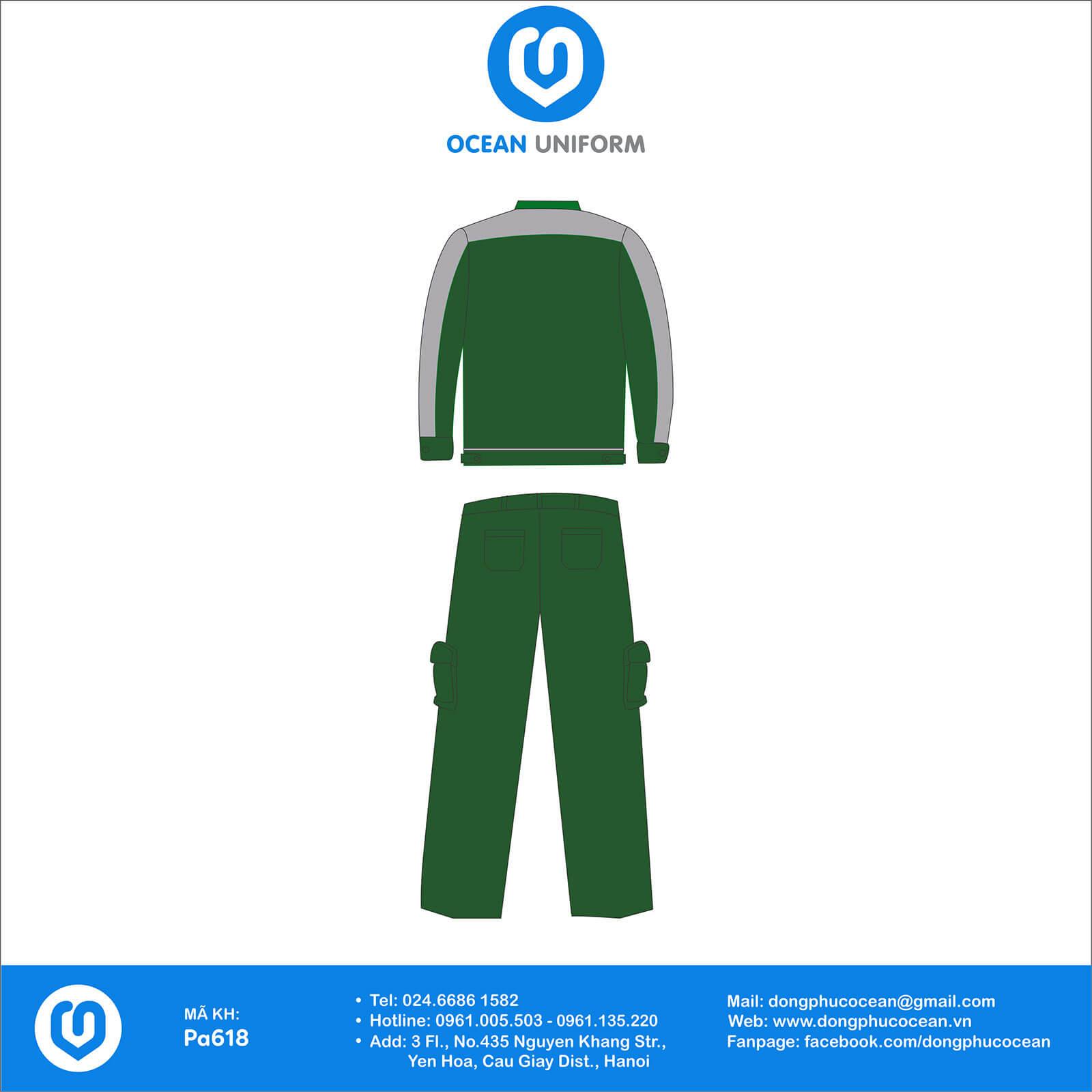 Đồng phục công nhân Bộ bảo hộ xanh lá phổi xám mặt sau