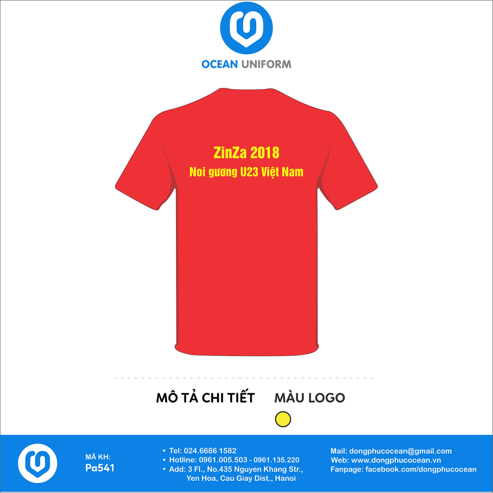 Áo cờ đỏ sao vàng ZinZa 2018mặt sau