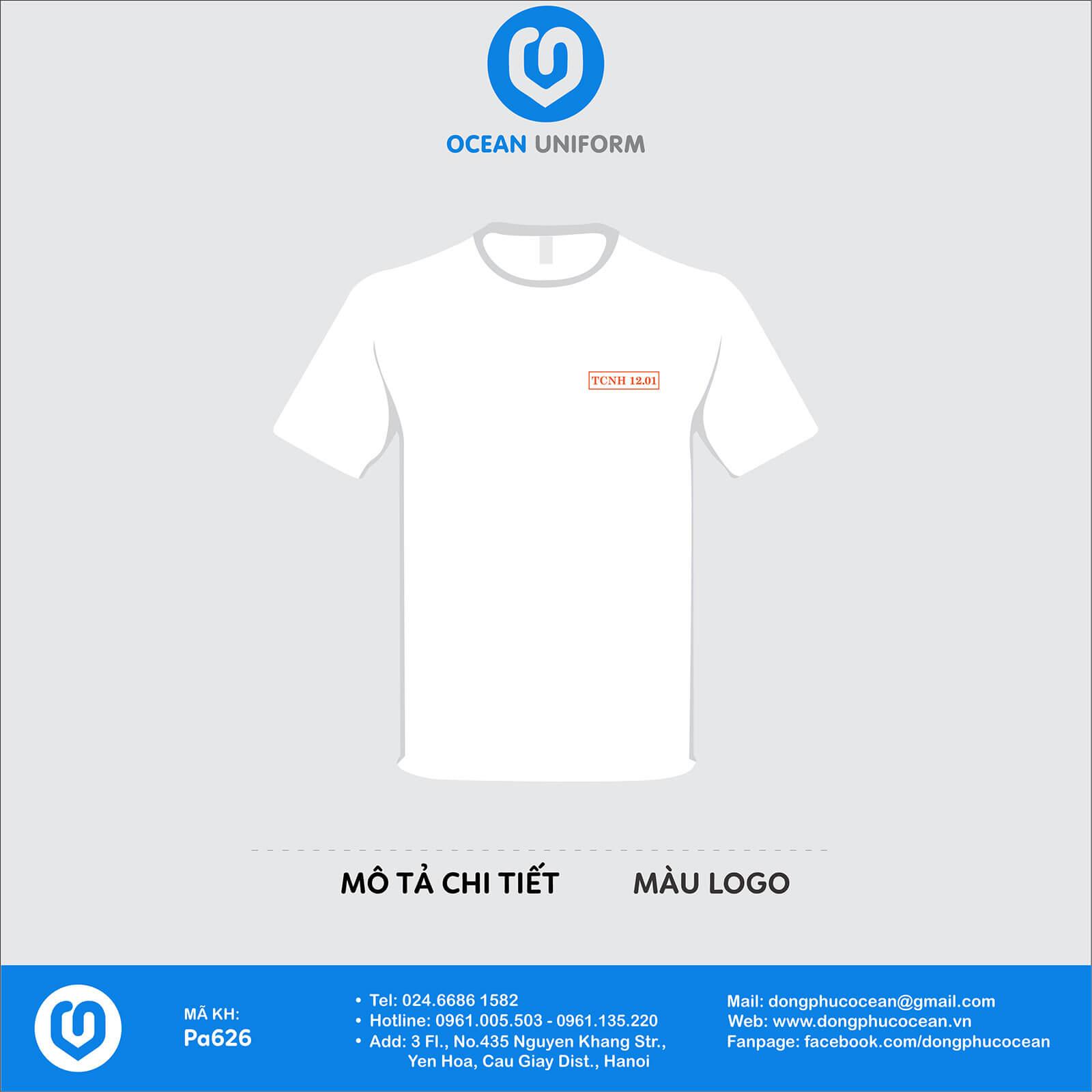 Áo đồng phục lớp cổ tròn TCNH 12.01 màu trắng