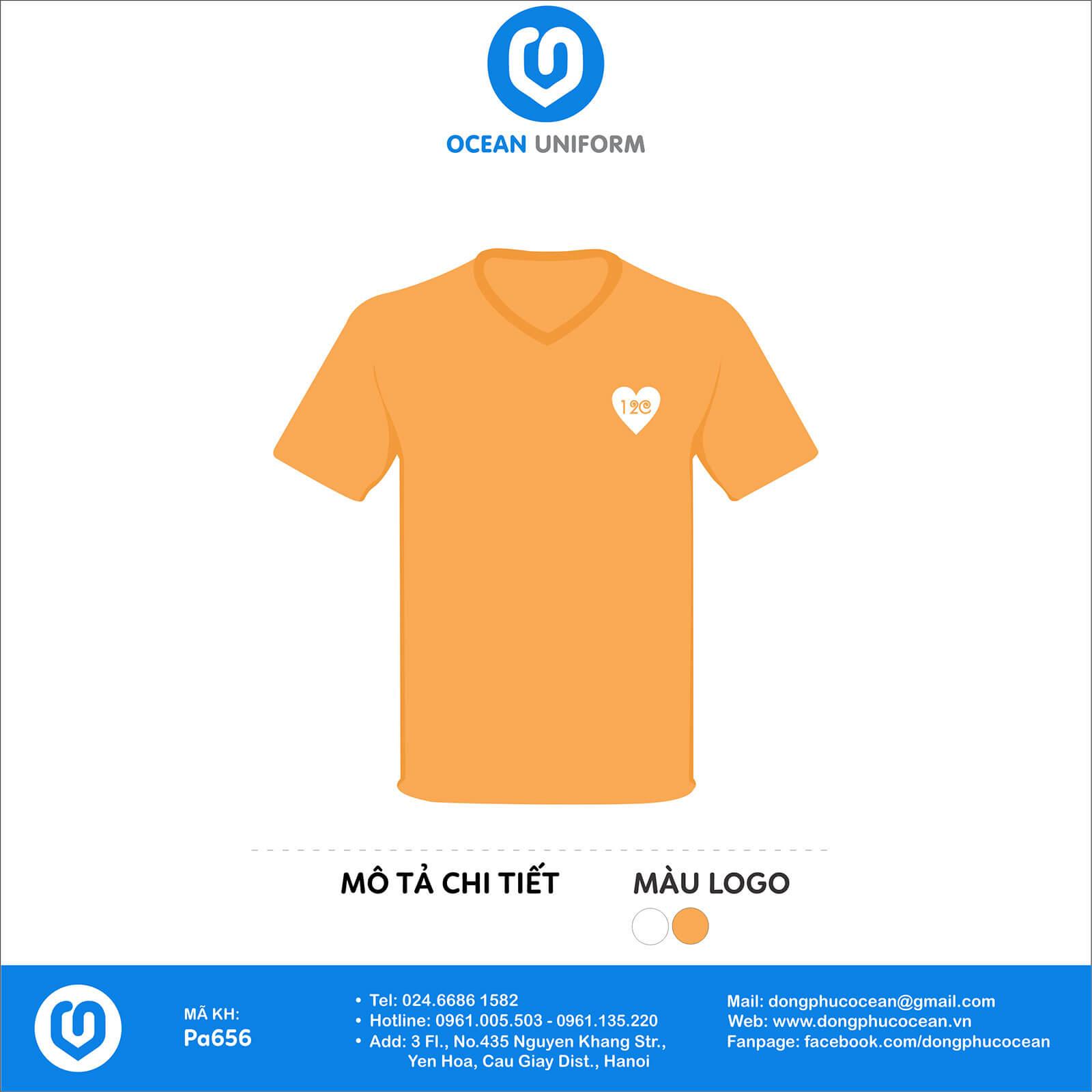 Áo đồng phục lớp 12C cổ tròn màu cam