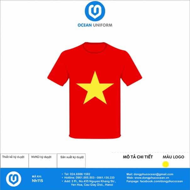 Áo cờ đỏ sao vàng trường Mầm non Đình Cao