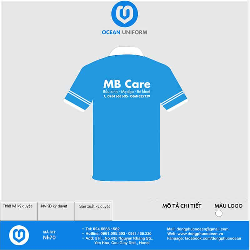 Áo đồng phục công ty - MB Care mặt sau