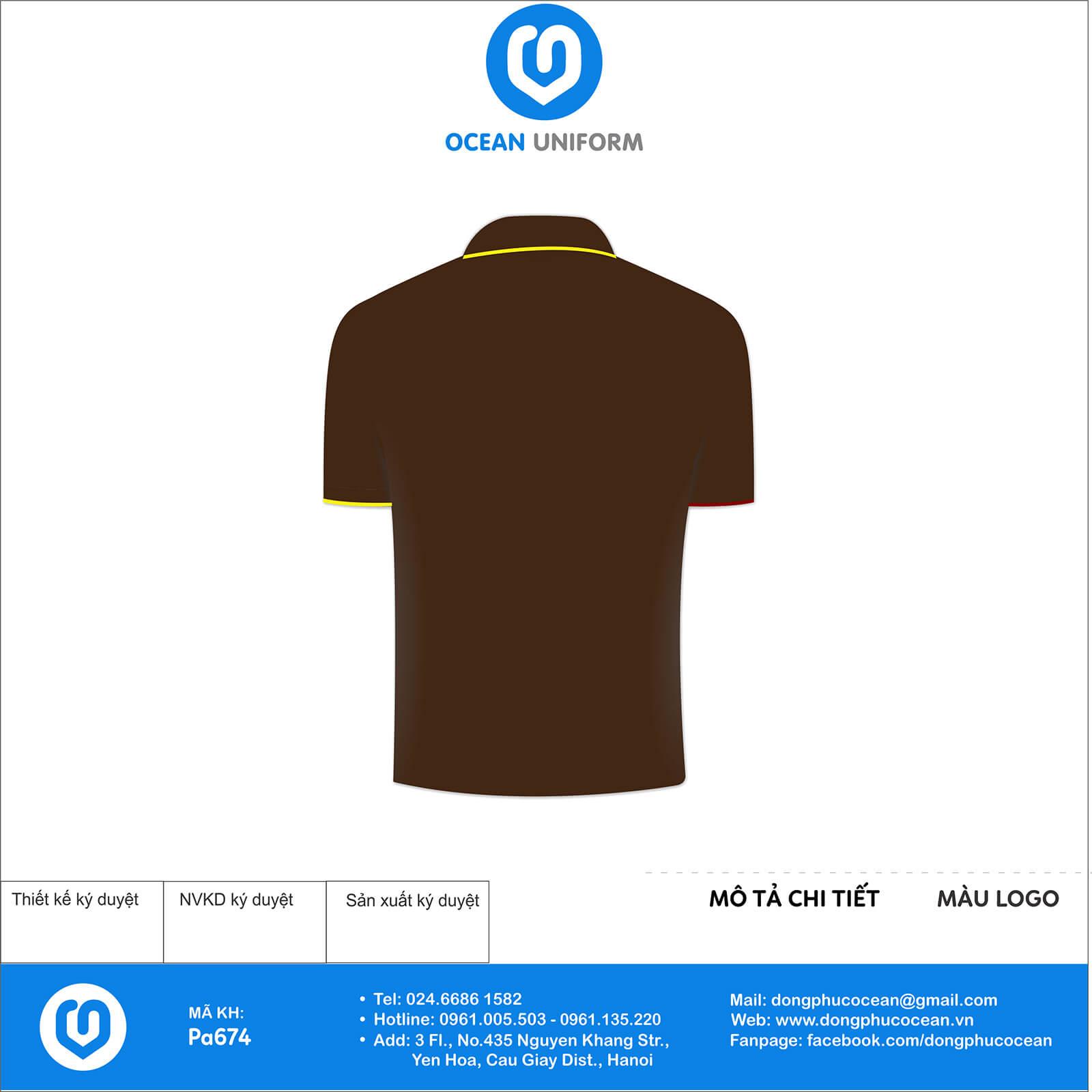 Áo đồng phục nhân viên nhà hàng Bánh Mỳ Ong Vàng mặt sau