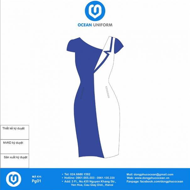 Đồng phục PG cổ chéo xanh trắng