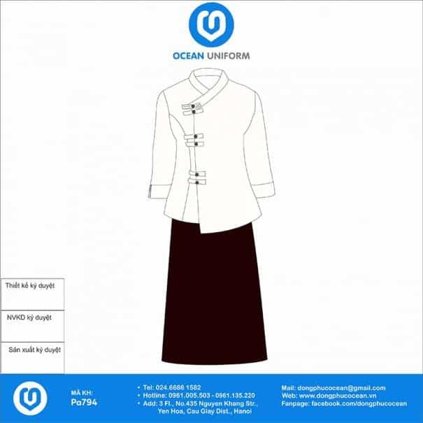 Đồng phục Spa áo trắng váy nâu