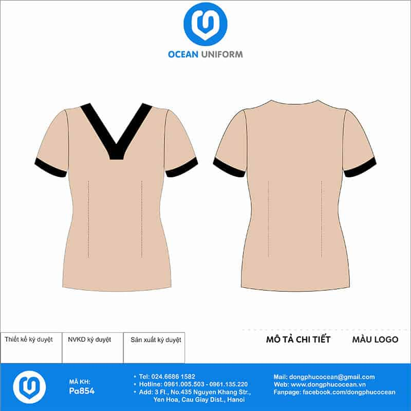 Áo đồng phục Spa áo váy màu hồng