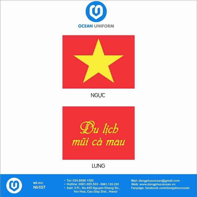 Họa tiết áo cờ đỏ sao vàng Du lịch Cà Mau