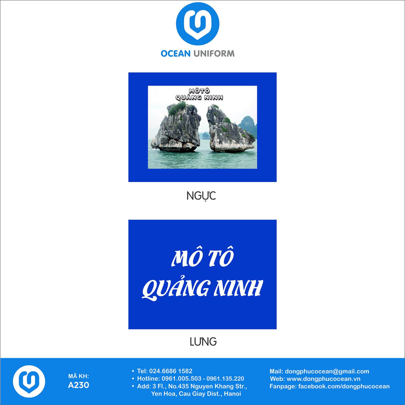 Hoạ tiết đồng phục câu lạc bộ Mô Tô Quảng Ninh