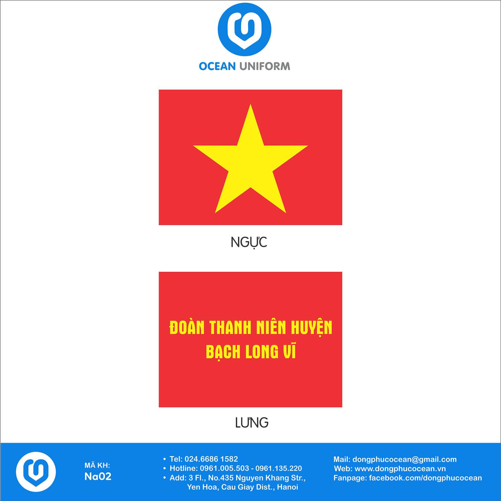 Hoạ tiết áo cờ đỏ sao vàng đoàn thanh niên huyện Bạch Long Vỹ