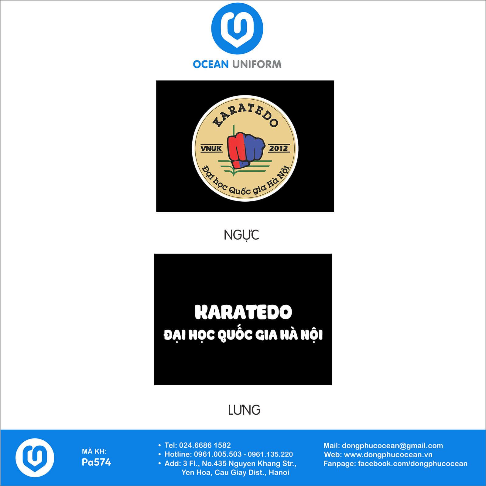 Hoạ tiết đồng phục câu lạc bộ Karatedo Đại Học Quốc Gia HN