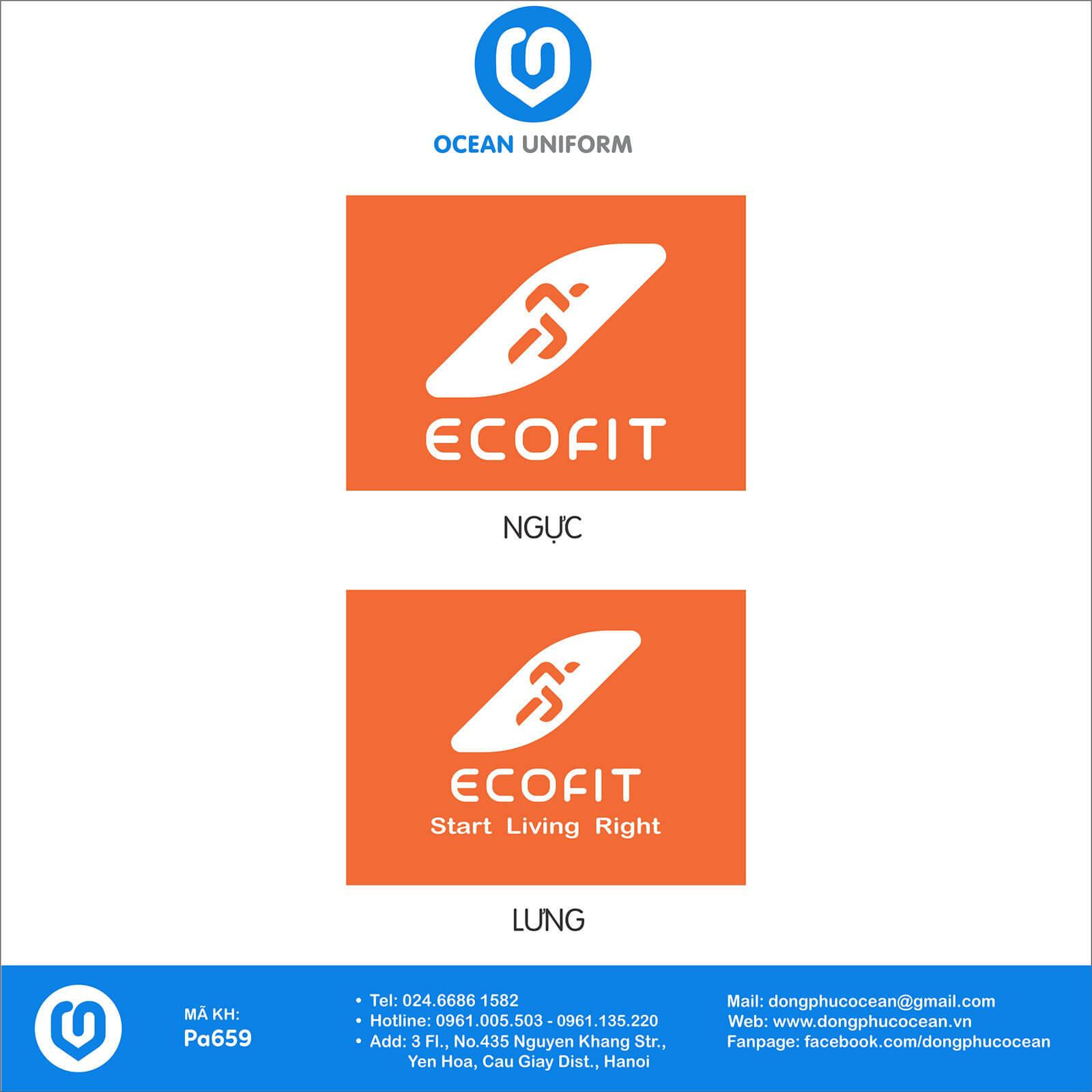 Hoạ tiết áo thun đồng phục câu lạc bộ Ecofit