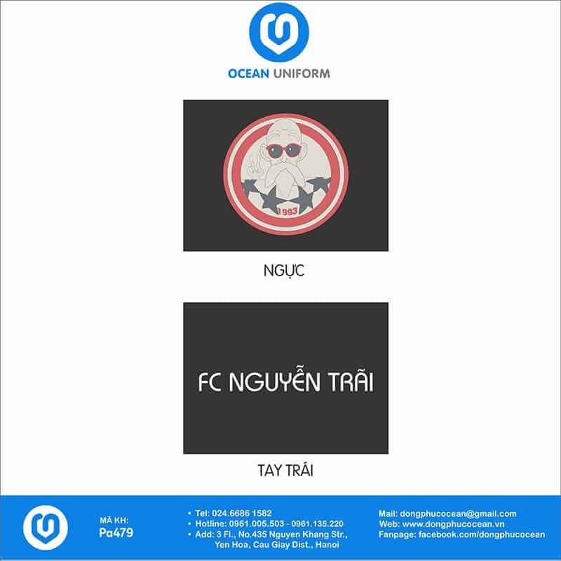 Hoạ tiết áo khoác gió 2 lớp đồng phục FC Nguyễn Trãi